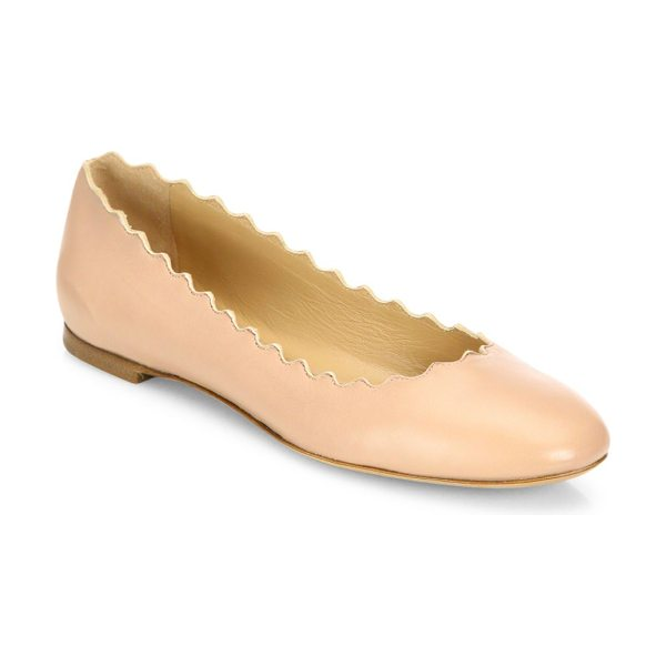 Chloe lauren nappa ballet flats in pinktea - Smooth leather flat with scalloped edge. Leather upper....