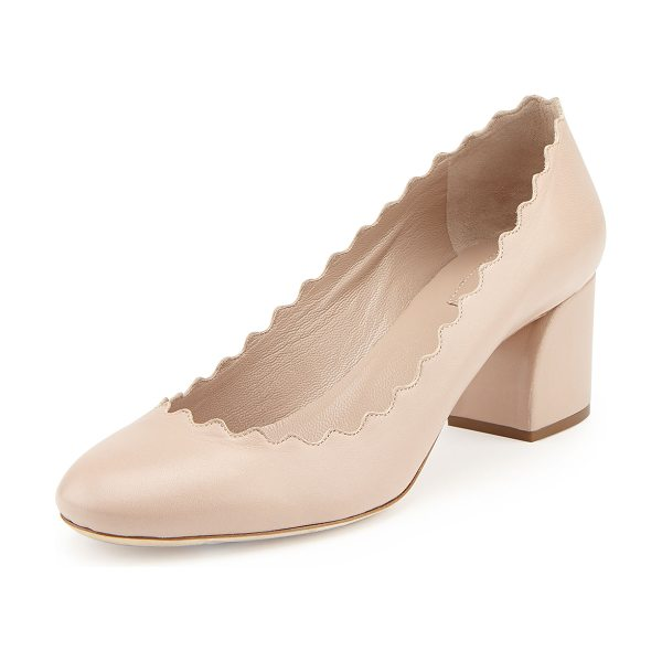 "Chloe Scalloped Leather Pump in pink tea - Chloe leather pump. 2"" covered block heel. Signature..."