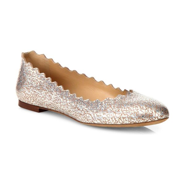 Chloe lauren scalloped metallic leather flats in blushpurple - Chloe's beloved scalloped leather flats updated with a...