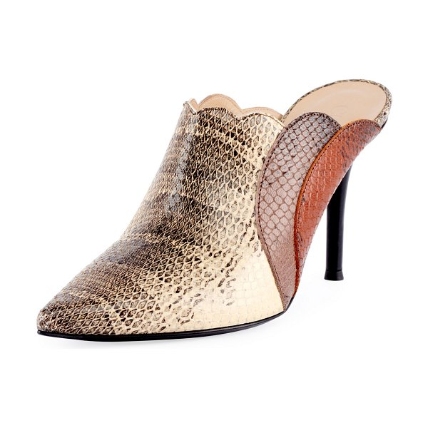Chloe Scalloped Python-Printed Mules in beige