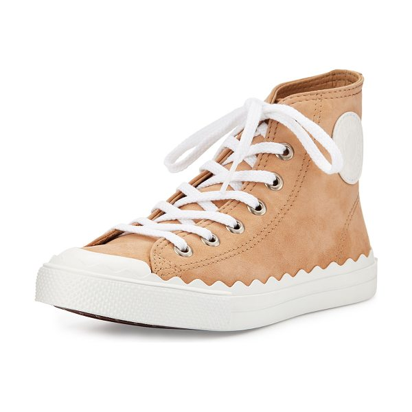 "Chloe Scalloped Suede High-Top Sneaker in reef shell - Chloe suede high-top sneaker. 1"" scalloped platform..."