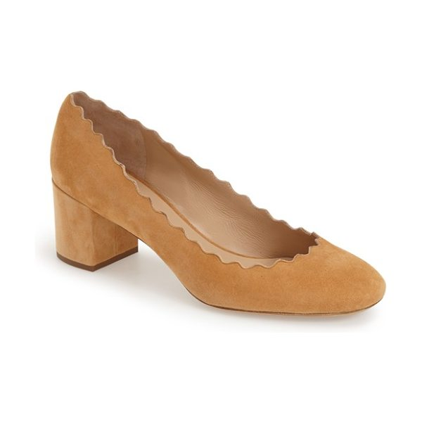 CHLOE lauren scalloped suede pump - A scalloped topline lends curvy allure to a soft suede...