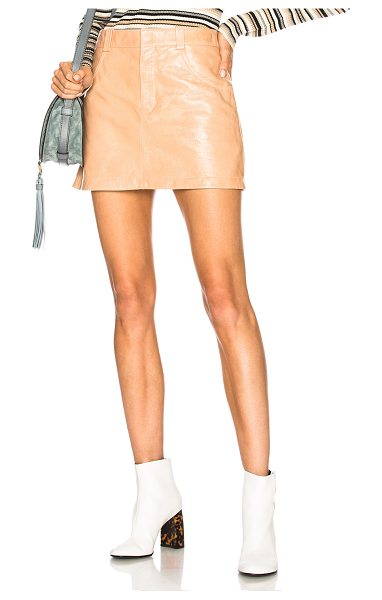 Chloe Shiny Crackled Leather Mini Skirt in neutrals - Self: 100% lambskin leather - Lining: 100% viscose. ...