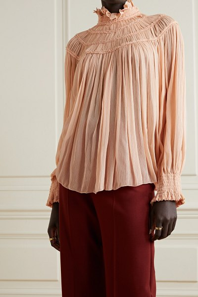 Chloe shirred embroidered silk-crepon blouse in blush