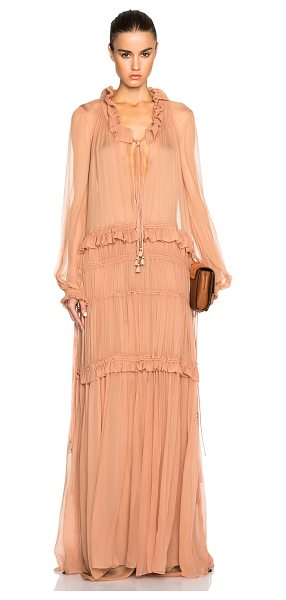 Chloe Silk crepon gown in pink - Self & Contrast Fabric: 100% silk.  Made in France. ...