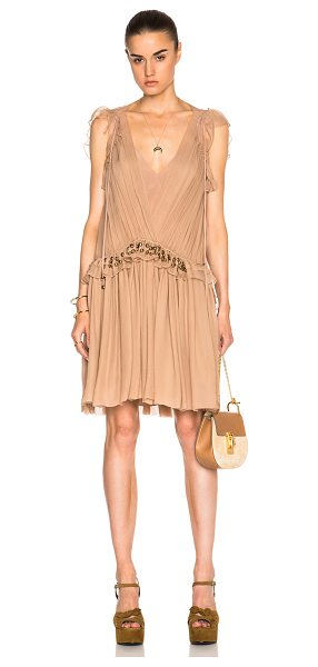 Chloe Silk Crepon Mini Dress in pink,neutrals - 100% silk.  Made in France.  Fully lined.  Sheer pleated...