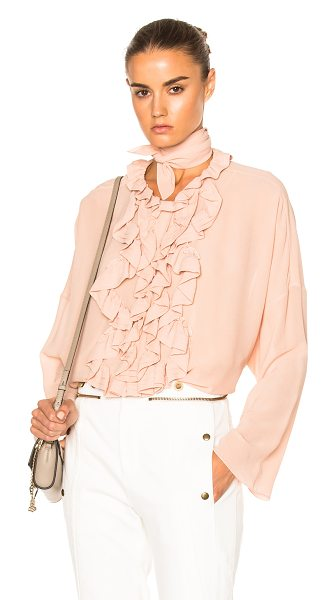 Chloe Silk Georgette Blouse in tender pink - Self: 100% silkLining: 100% poly. Made in Madagascar....