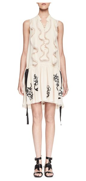 Chloe Sleeveless Ruffled Embroidered-Skirt Dress in nude black - Chloe georgette dress with floral-embroidered skirt....
