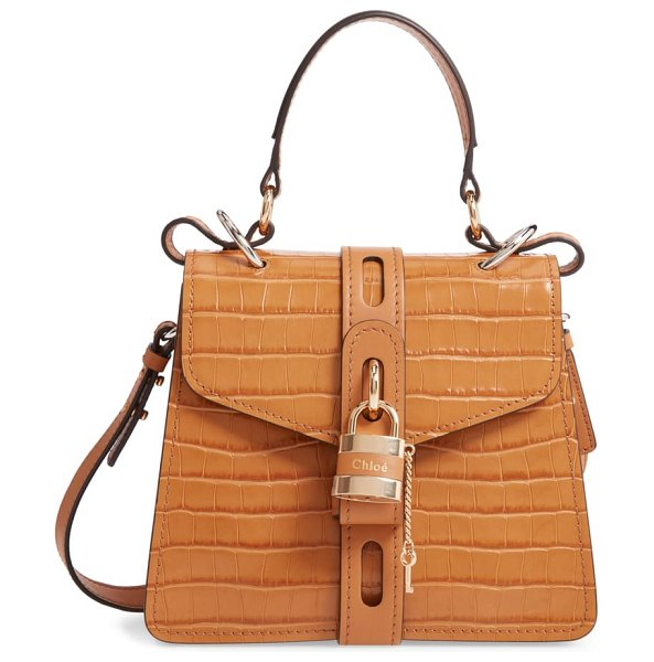 Chloe small aby croc embossed leather shoulder bag in brown