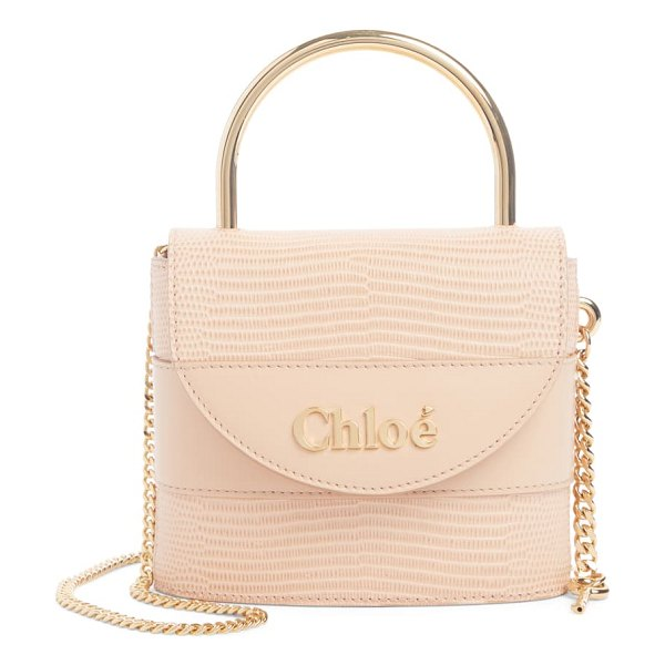 Chloe small aby lock lizard embossed leather shoulder bag in pink