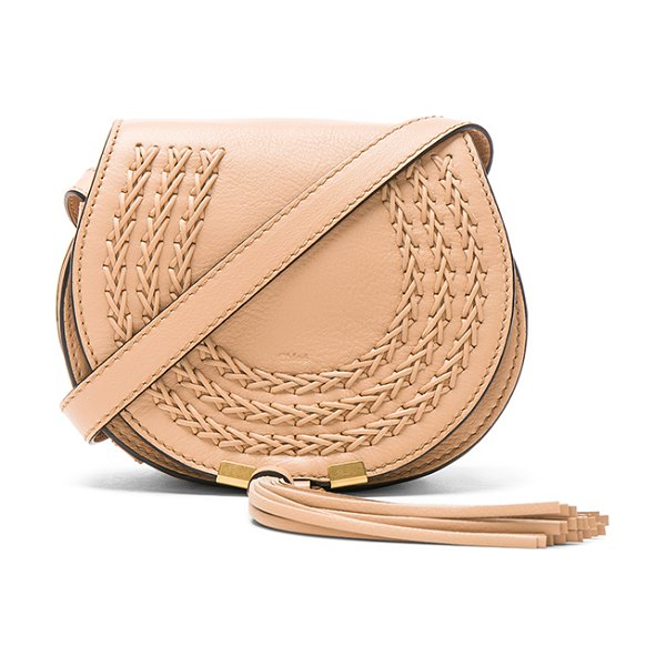 """Chloe Small Braid Marcie Satchel in neutrals - """"Calfskin leather with suede lining and brushed..."""