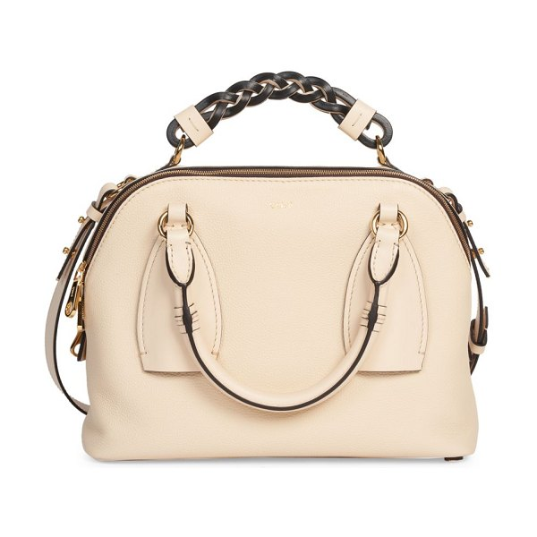 Chloe small daria leather satchel in beige