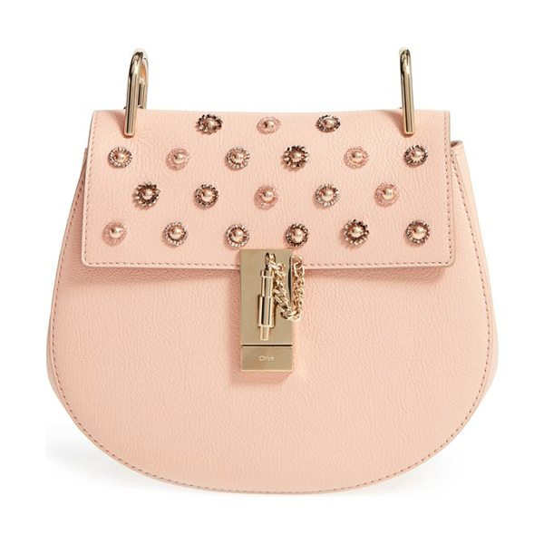 Chloe Small drew goatskin leather shoulder bag in peony pink - Delicate beaded-crystal flowers bloom across the...
