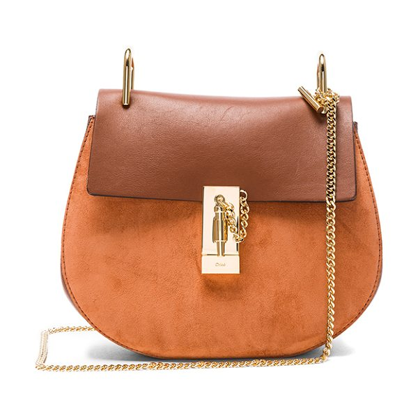 Chloe Small Suede & Calfskin Drew Shoulder Bag in brown - Calfskin suede with raw lining and gold-tone hardware. ...