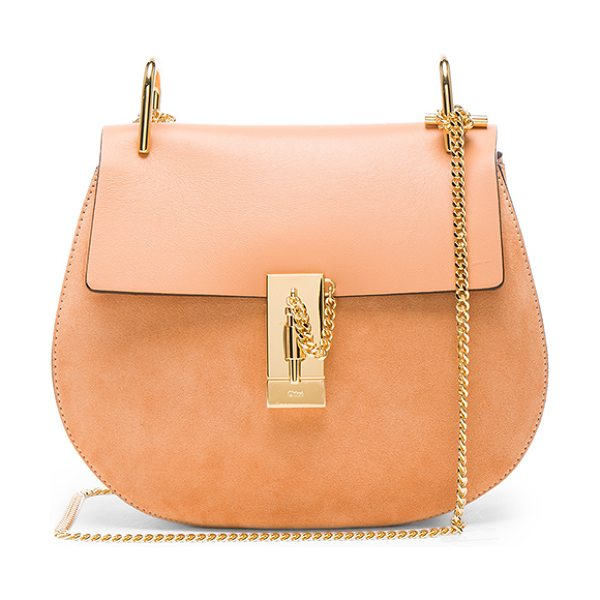 Chloe Small Suede & Calfskin Drew Shoulder Bag in blushy pink - Calfskin suede with raw lining and gold-tone hardware....