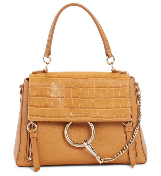 Chloe small faye day croc embossed leather shoulder bag in brown