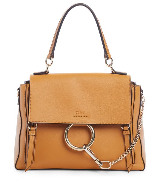 Chloe small faye day leather shoulder bag in brown