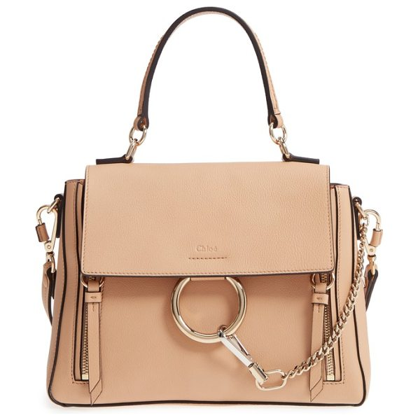 Chloe small faye day leather shoulder bag in blush nude - Iconic equestrian-inspired hardware gleams against the...