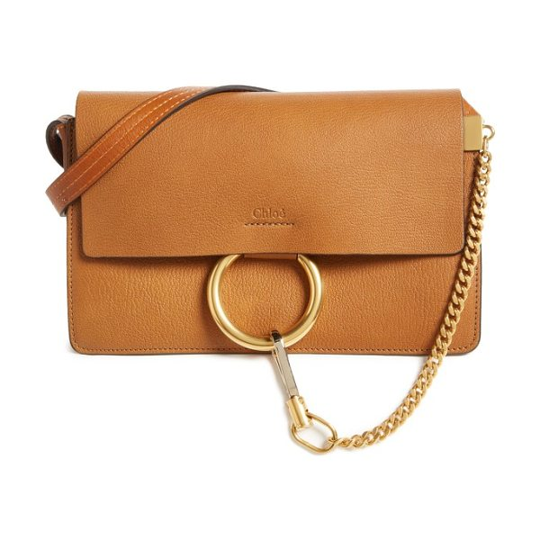 CHLOE small faye goatskin leather crossbody bag - Chloe's equestrian-inspired hardware gleams against the...