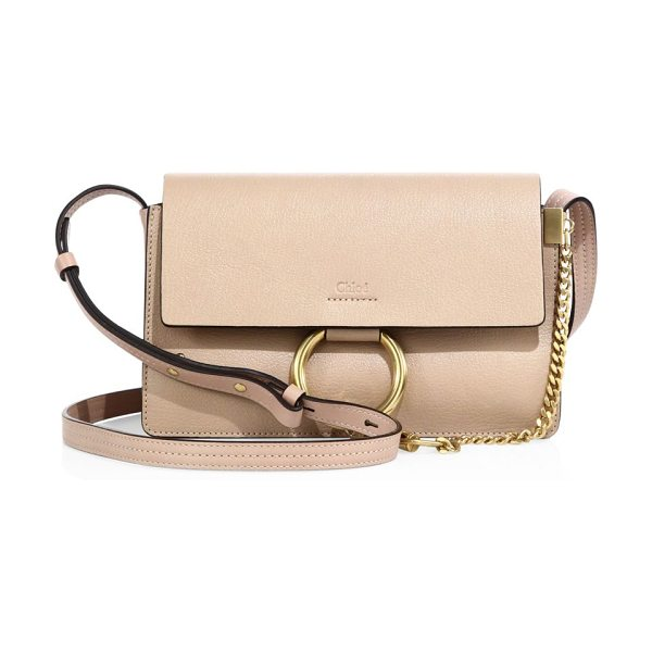 Chloe small faye leather crossbody bag in biscottibeige - Iconic crossbody bag rendered in two-tone leather....
