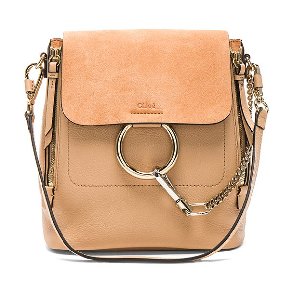 Chloe Small Faye Suede & Calfskin Backpack in blush nude - Calfskin leather with twill lining and pale gold-tone...