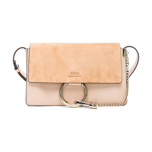 CHLOE Small Faye Suede & Calfskin Shoulder Bag - Calfskin leather with suede lining and pale gold-tone...