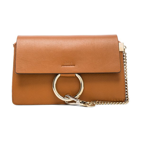 Chloe Small Faye Grained Calfskin Shoulder Bag in brown