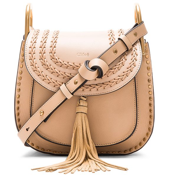 Chloe Small Hudson Bag in pearl beige - Calfskin leather with raw lining and gold-tone hardware....