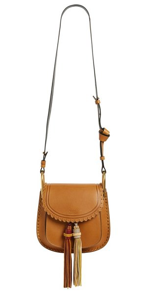 Chloe Small hudson tassel leather shoulder bag in mustard brown
