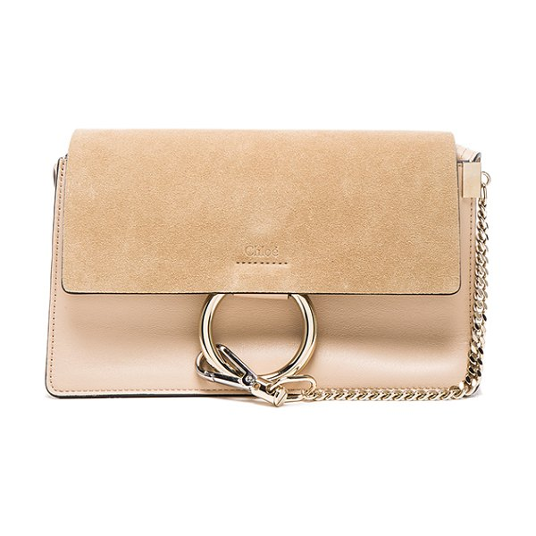 "CHLOE Small Leather Faye Bag in neutrals - ""Calfskin leather with suede lining and pale gold-tone..."