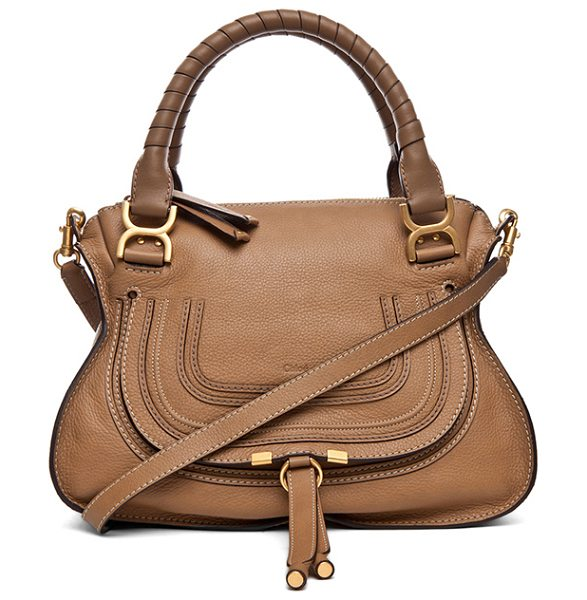 "Chloe Small Marcie Grained Leather Satchel in neutrals - ""Calfskin leather with cotton canvas fabric lining and..."