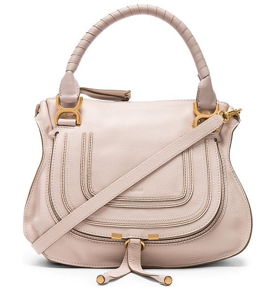 "Chloe Small Marcie Grained Leather Satchel in neutrals - ""Calfskin leather with twill lining and brushed..."