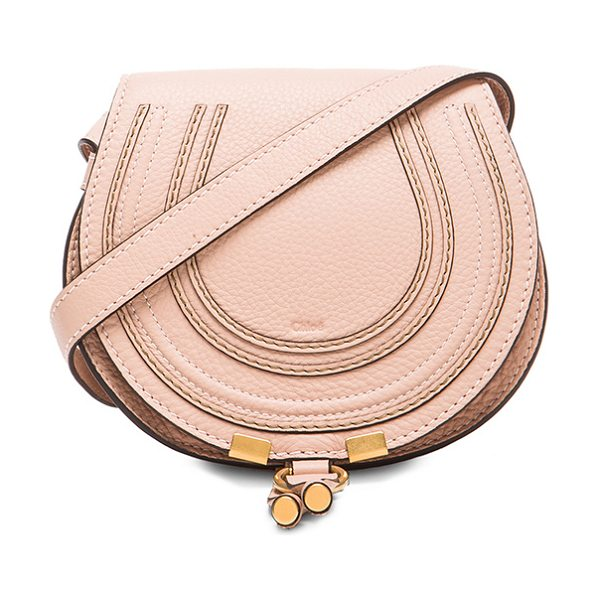 "Chloe Small Marcie Grained Calfskin Saddle Bag in neutrals - ""Genuine calfskin leather with cotton-twill fabric..."
