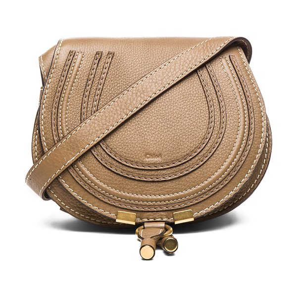 "CHLOE Small Marcie Grained Calfskin Saddle Bag - ""Genuine calfskin leather with canvas lining and..."