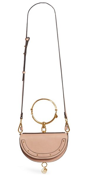 Chloe small nile bracelet calfskin leather minaudiere in biscotti beige - An articulated Chloe bracelet and a dangling logo charm...