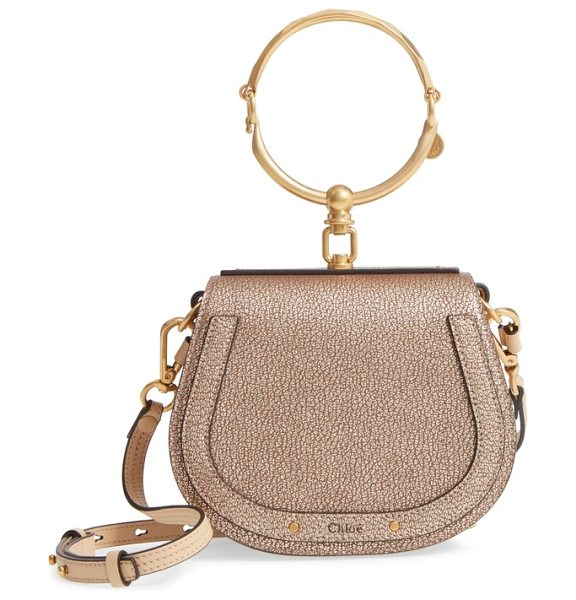 Chloe small nile bracelet metallic leather crossbody bag in gold
