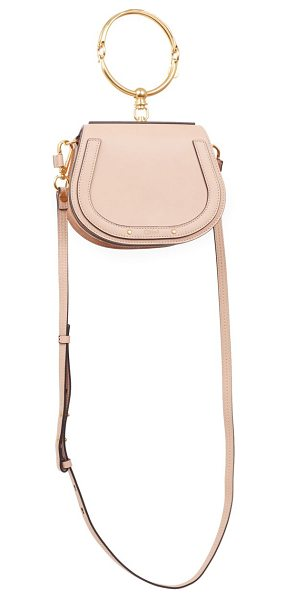 Chloe small nile leather & suede bracelet saddle bag in biscotti beige