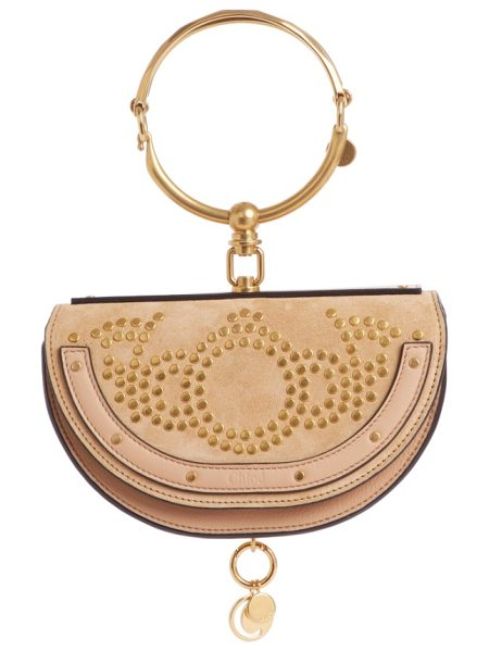 Chloe small nile studded suede & leather convertible bag in nr24l blush nude - Topped with that distinctive articulated bracelet, this...