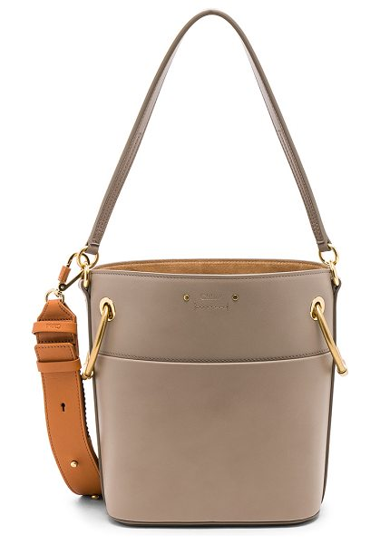 """Chloe Small Roy Calfskin Bucket Bag in gray - """"Calfskin leather with canvas lining and brushed..."""