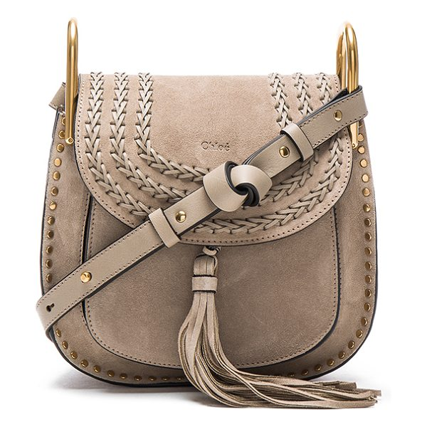 Chloe Small Suede Hudson Bag in gray - Calfskin suede with raw lining and gold-tone hardware. ...