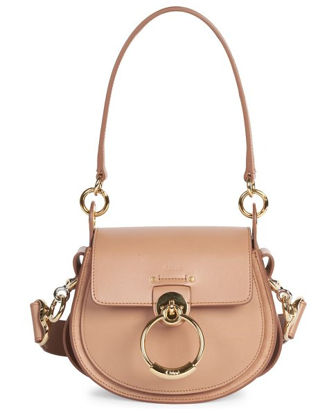 Chloe small tess leather saddle bag in delicate pink
