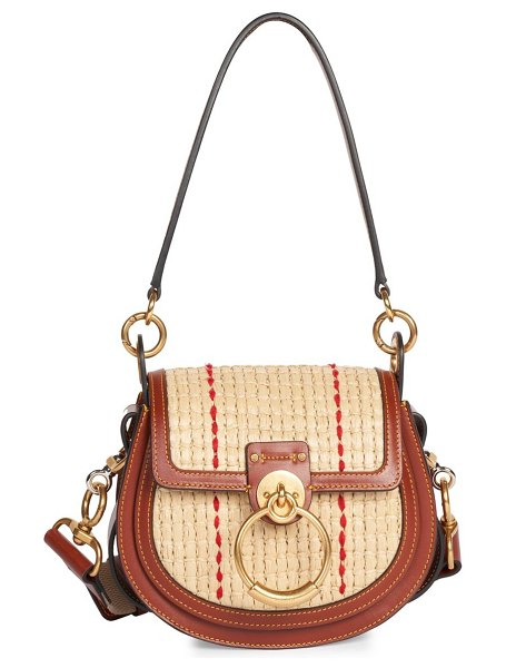 Chloe small tess raffia & leather saddle bag in sepia brown