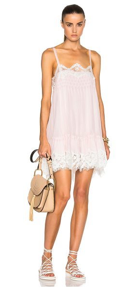 CHLOE Smocked Georgette & Lace Dress - Self: 54% acetate 26% polyamide 20% silk - Contrast...