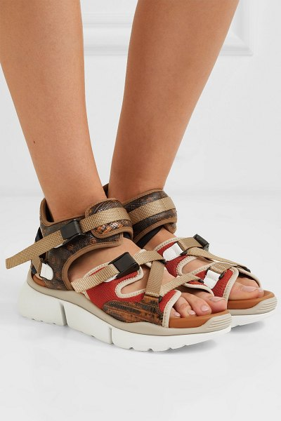 Chloe sonnie canvas, mesh and snake-effect leather sandals in tan