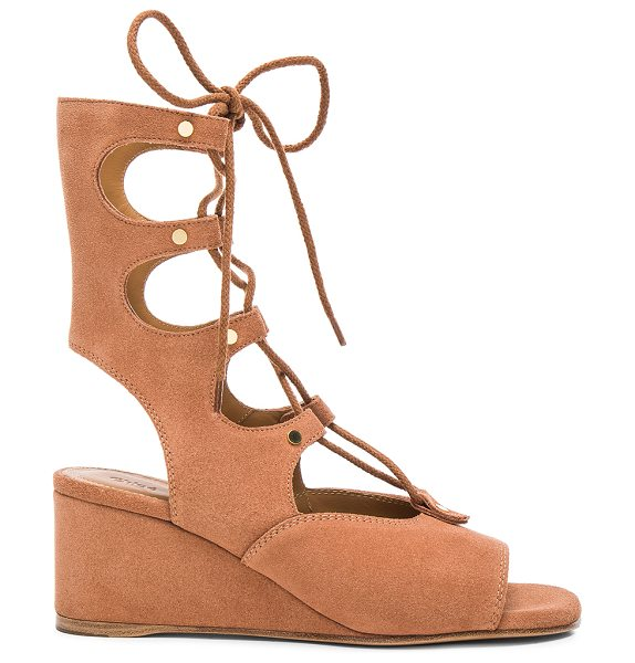Chloe Suede Foster Wedge Sandals in neutrals - Suede upper with leather sole.  Made in Italy.  Shaft...