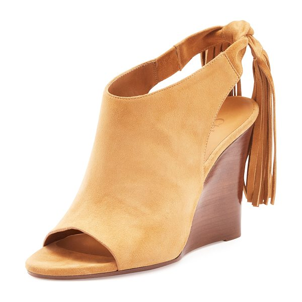"Chloe Suede Fringe-Tie Wedge Pump in angora beige - Chloe pump with suede upper. 4"" stacked wedge heel. Open..."