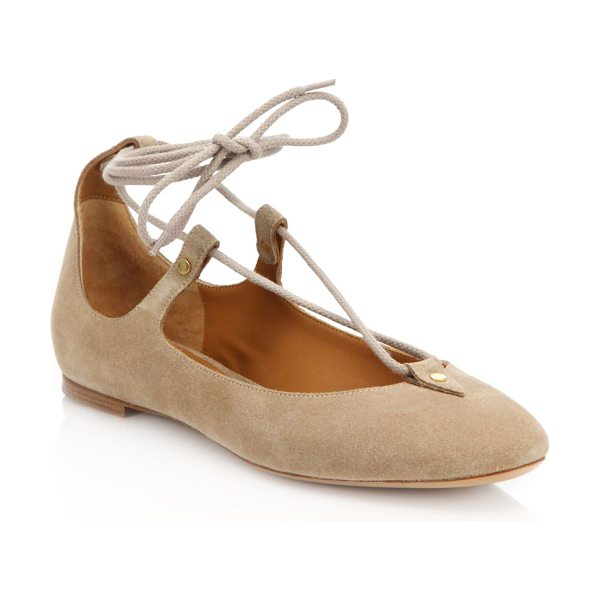 Chloe Suede lace-up ballet flats in beige - Trend-right lace-up flat crafted in chic suede. Suede...