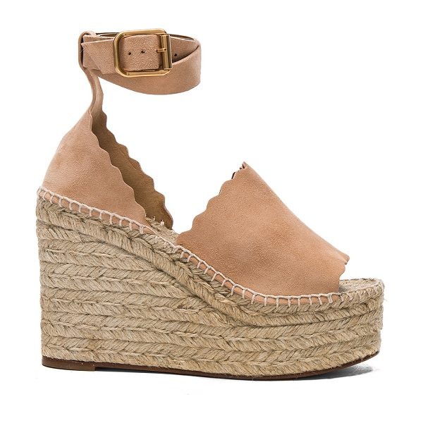Chloe Suede Lauren Espadrille Wedges in nude - Suede upper with rubber sole.  Made in Spain.  Approx...