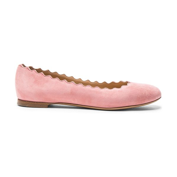 Chloe Suede Lauren Flats in pink - Suede upper with leather sole.  Made in Italy.  Rubber...