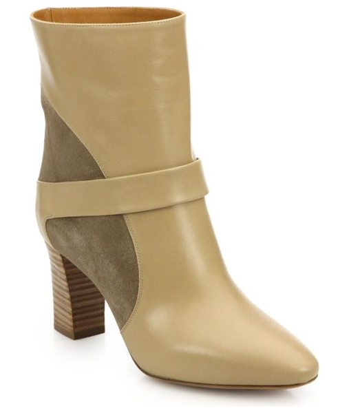 Chloe Suede & leather booties in beige - Effortlessly chic booties beautifully crafted in a mix...